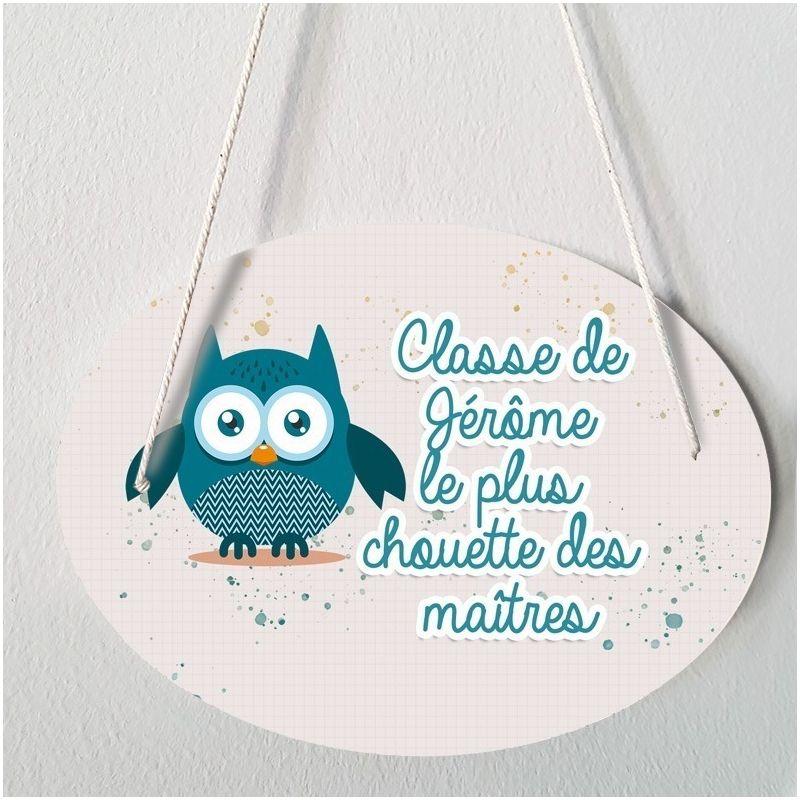 Plaque porte  personnalisable - Chouette bleue - salle de classe|La chouette mauve|Livraison rapide|Fabrication en France