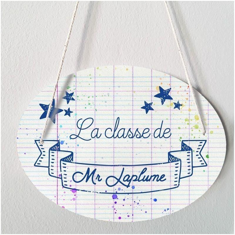 Plaque porte  personnalisable - Etoiles bleues - salle de classe|La chouette mauve|Livraison rapide|Fabrication en France