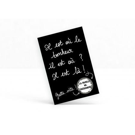 """Carte à gratter """"Il est où le bonheur...?"""" - La famille va s'agrandir La chouette mauve Livraison rapide Fabrication en France"""