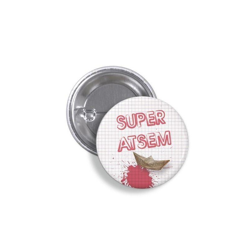 Badge Super ATSEM- Bateau en papier|La chouette mauve|Livraison rapide|Fabrication en France