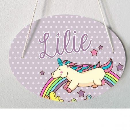 Plaque porte enfant personnalisable - Lilie- Licorne|La chouette mauve|Livraison rapide|Fabrication en France