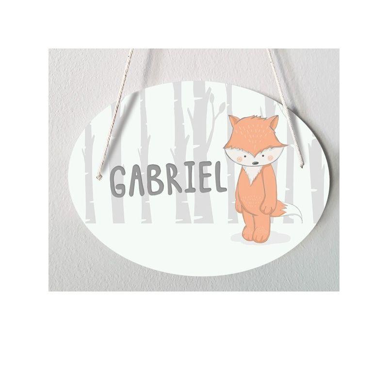 Plaque porte enfant personnalisable - Gabriel - Renard|La chouette mauve|Livraison rapide|Fabrication en France