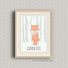 Affiche à encadrer pour chambre d'enfant - Gabriel - Renard