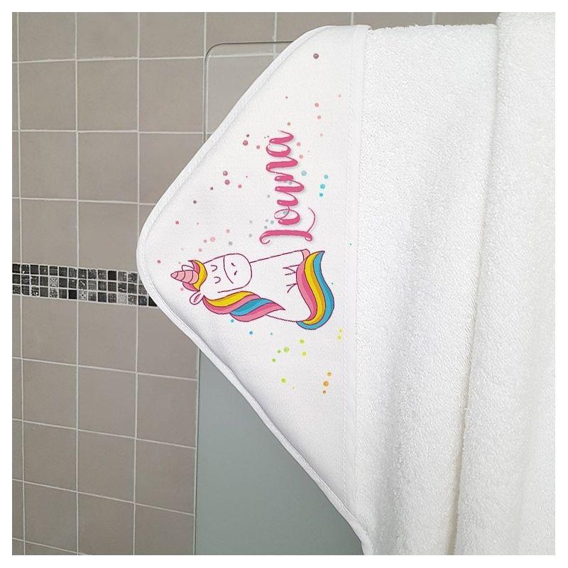 Cape de bain en éponge personnalisable, pour enfant, modèle Licorne|La chouette mauve|Livraison rapide|Fabrication en France