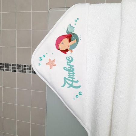 Cape de bain en éponge personnalisable, pour enfant, modèle Sirène La chouette mauve Livraison rapide Fabrication en France