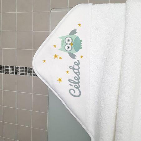 Cape de bain en éponge personnalisable, pour enfant, modèle Chouette La chouette mauve Livraison rapide Fabrication en France