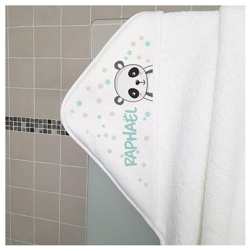 Cape de bain en éponge personnalisable, pour enfant, modèle Panda|La chouette mauve|Livraison rapide|Fabrication en France