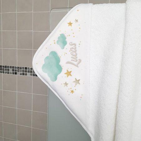 Cape de bain en éponge personnalisable, pour enfant, modèle Nuages|La chouette mauve|Livraison rapide|Fabrication en France