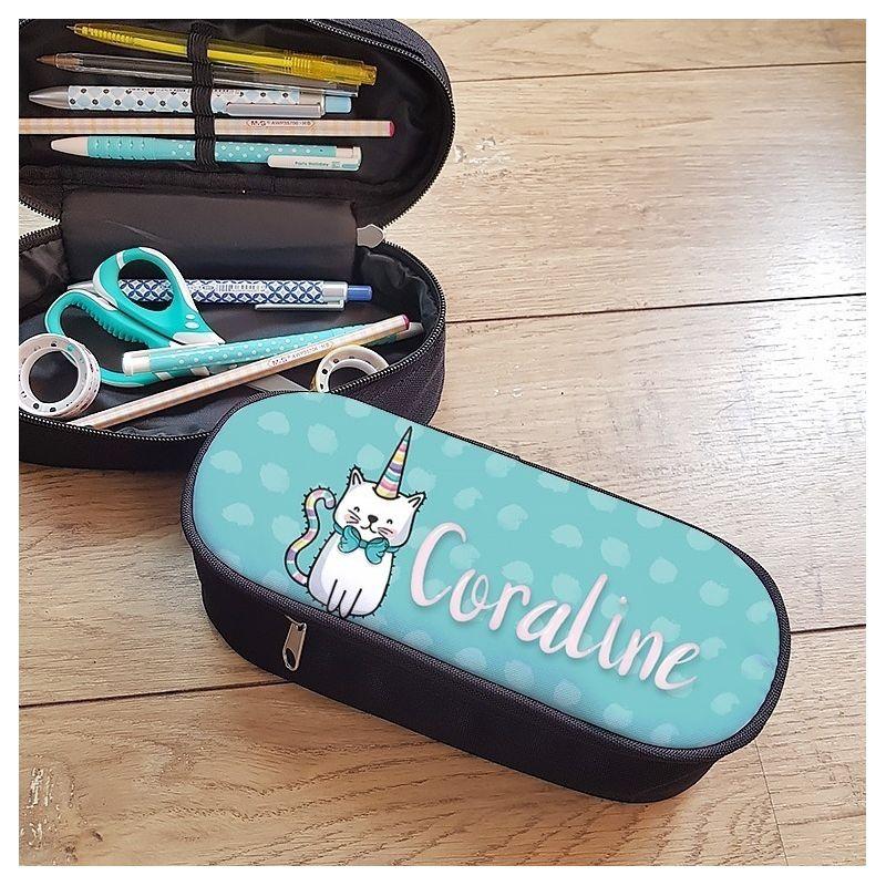 Trousse à crayons personnalisable, modèle Chat-Licorne La chouette mauve Livraison rapide Fabrication en France