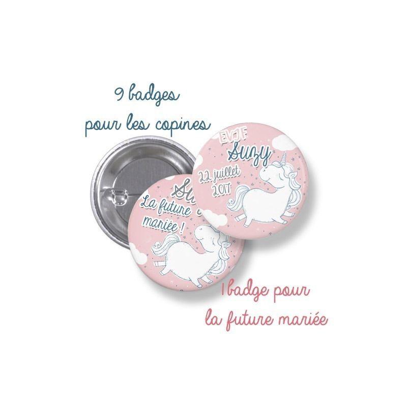 Badges EVJF rond grand format en métal - modèle licorne La chouette mauve Livraison rapide Fabrication en France