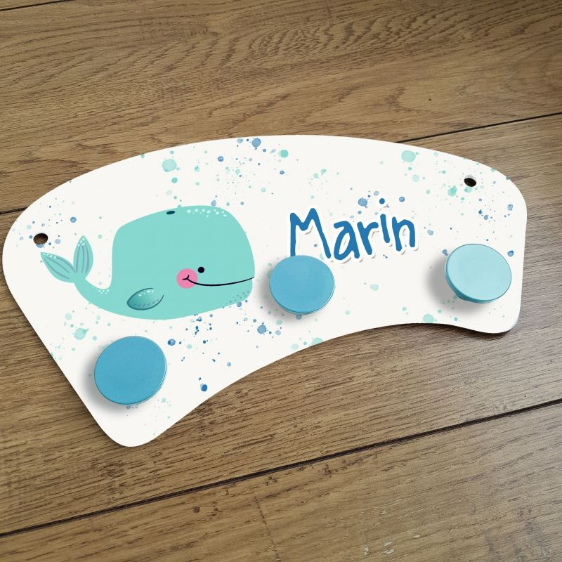 Porte manteaux chambre enfant personnalisé - Baleine La chouette mauve Livraison rapide Fabrication en France