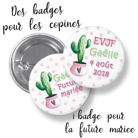Badges EVJF rond grand format en métal - modèle Gaëlle Cactus La chouette mauve Livraison rapide Fabrication en France