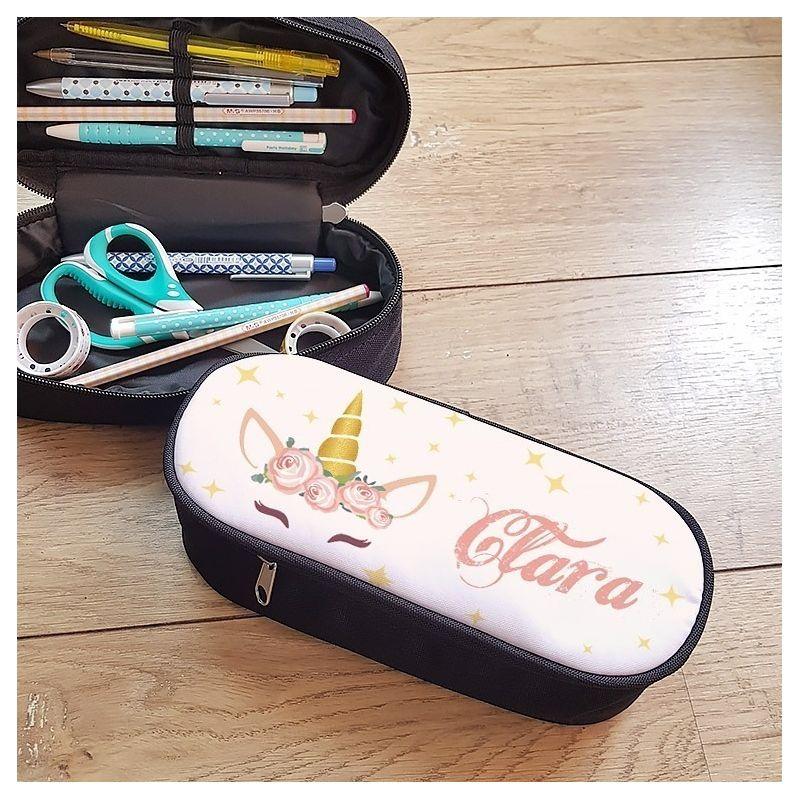 Trousse à crayons personnalisable, modèle Licorne 2 La chouette mauve Livraison rapide Fabrication en France
