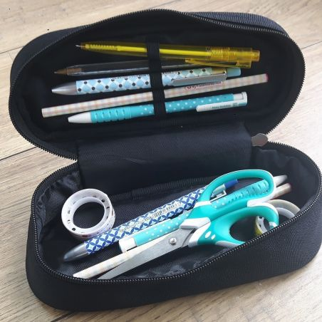 Trousse à crayons personnalisable, modèle Patins|La chouette mauve|Livraison rapide|Fabrication en France