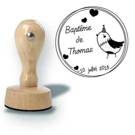 Tampon personnalisé pour baptême - Pioupiou|La chouette mauve|Livraison rapide|Fabrication en France