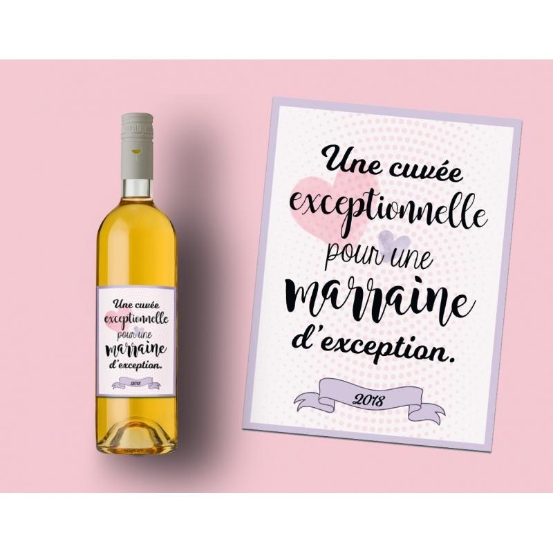 Etiquette à Coller Pour Bouteille Vin Pour Marraine Exceptionnelle