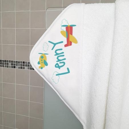 Cape de bain en éponge personnalisable, pour enfant, modèle Avions|La chouette mauve|Livraison rapide|Fabrication en France