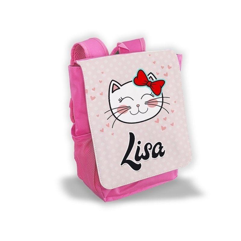 Sac à dos personnalisé pour enfant modèle Chat kitty|La chouette mauve|Livraison rapide|Fabrication en France