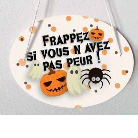 Plaque de porte pour Halloween La chouette mauve Livraison rapide Fabrication en France