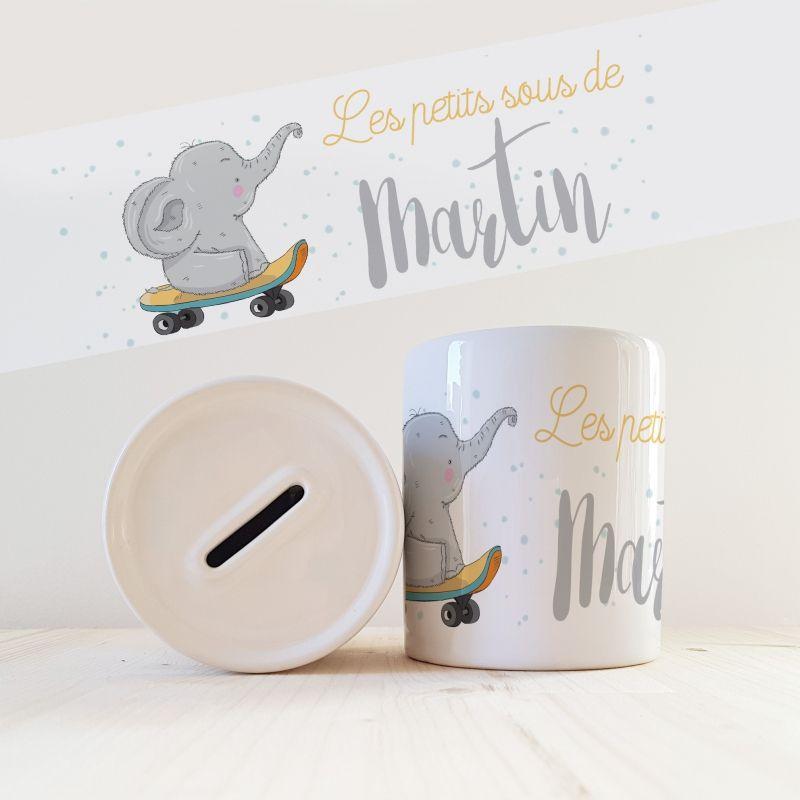 Tirelire personnalisée modèle Eléphant La chouette mauve Livraison rapide Fabrication en France