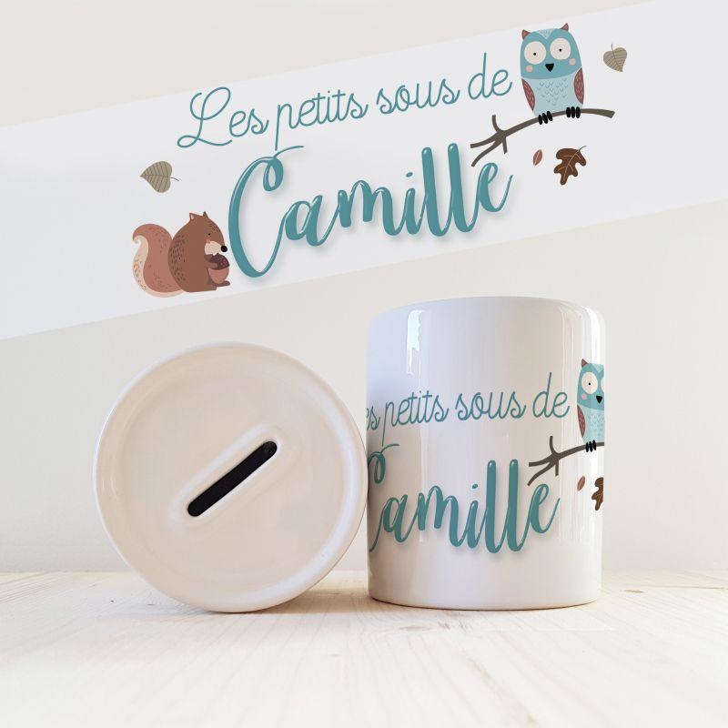 Tirelire personnalisée modèle Hibou La chouette mauve Livraison rapide Fabrication en France