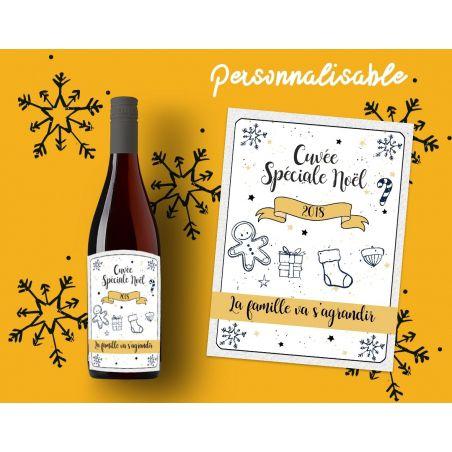 Etiquette personnalisable bouteille vin Spécial Noël|La chouette mauve|Livraison rapide|Fabrication en France