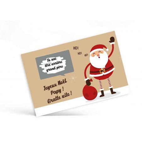 Carte à gratter personnalisable surprise Père Noël et sa bulle La chouette mauve Livraison rapide Fabrication en France
