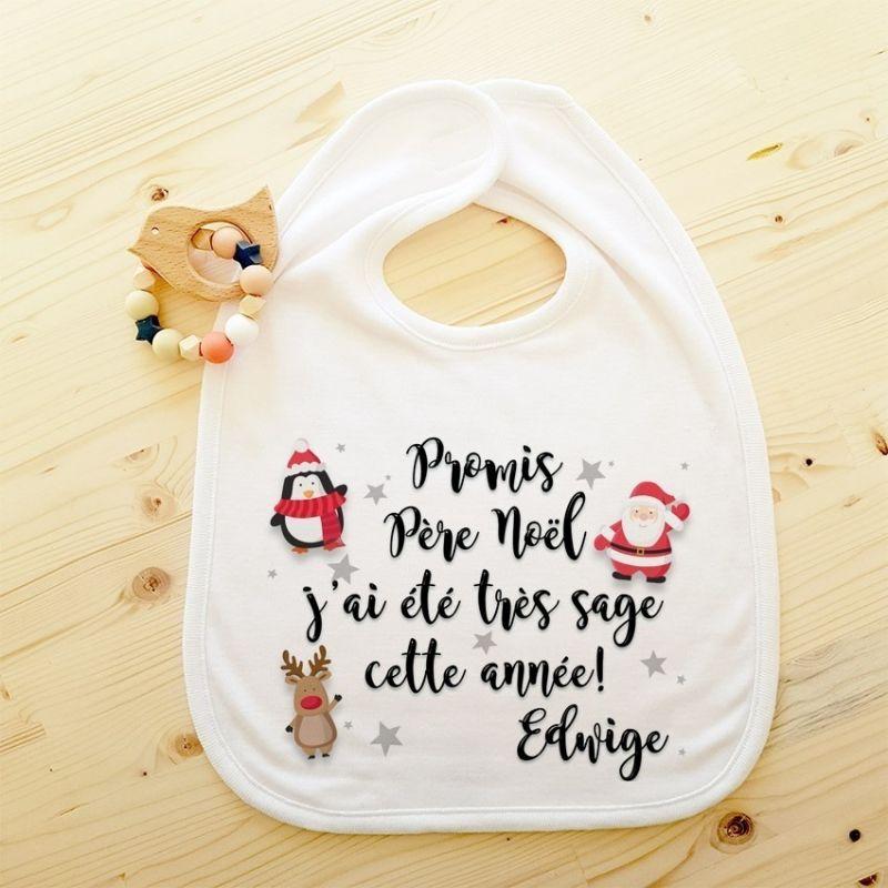 Bavoir personnalisable Promis Père Noël... La chouette mauve Livraison rapide Fabrication en France