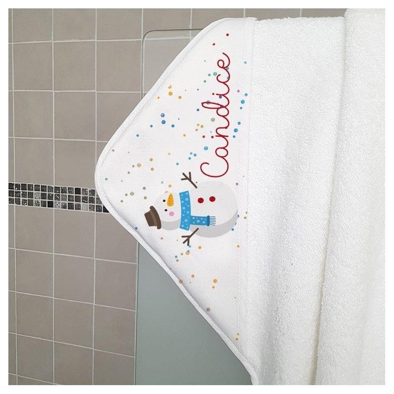 Sortie de bain en ponge personnalisable pour enfant mod le bonhomme de neige - Modele bonhomme de neige ...