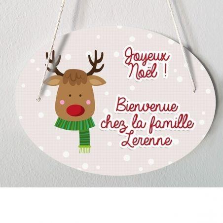 Plaque de porte personnalisable Spécial Noël - Renne|La chouette mauve|Livraison rapide|Fabrication en France