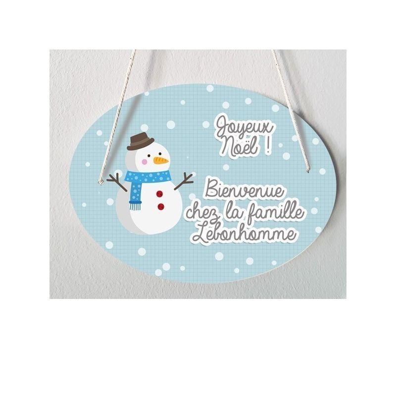 Plaque de porte personnalisable Spécial Noël - Bonhomme de neige|La chouette mauve|Livraison rapide|Fabrication en France