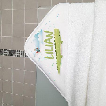 Cape de bain en éponge personnalisable, pour enfant, modèle Crocodile|La chouette mauve|Livraison rapide|Fabrication en France