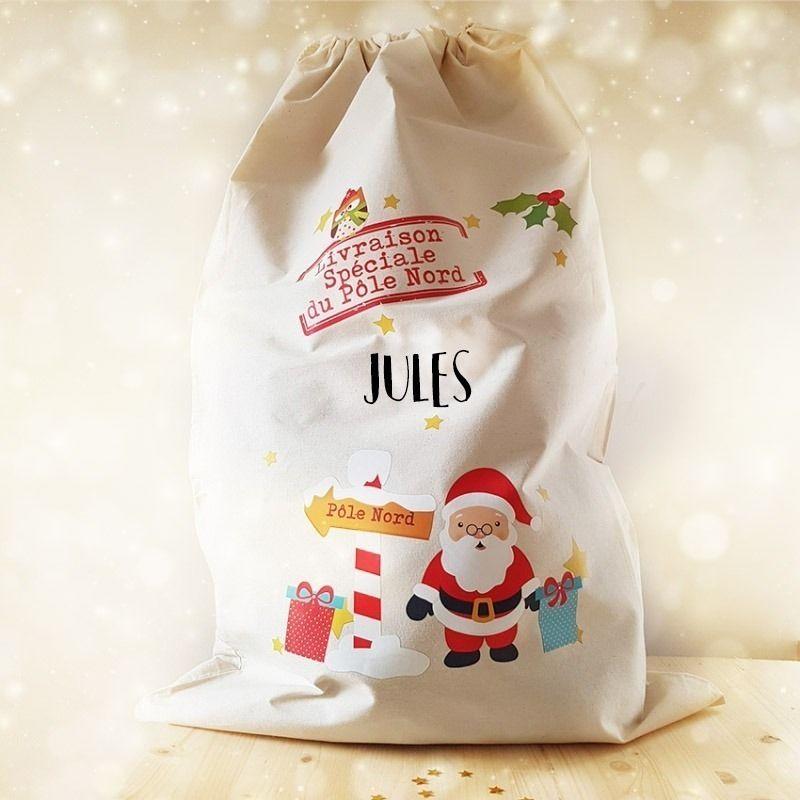 Grande hotte de Noël personnalisée XXL La chouette mauve Livraison rapide Fabrication en France