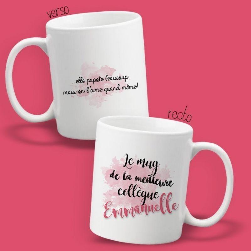 Mug personnalisable recto/verso de La Meilleure collègue|La chouette mauve|Livraison rapide|Fabrication en France