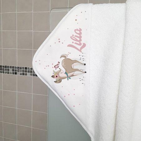 Cape de bain en éponge personnalisable, pour enfant, modèle Daim|La chouette mauve|Livraison rapide|Fabrication en France