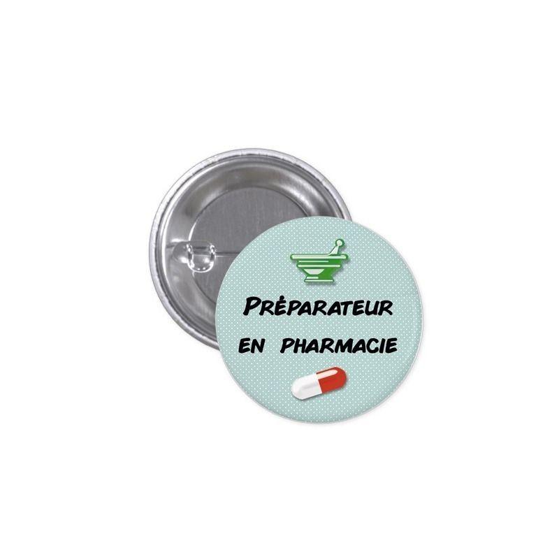 Badge Préparateur en pharmacie|La chouette mauve|Livraison rapide|Fabrication en France