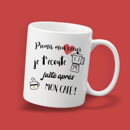 Mug  personnalisable Promis chéri je t'écoute après mon café|La chouette mauve|Livraison rapide|Fabrication en France