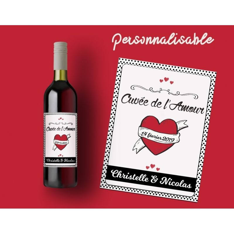 Etiquette Bouteille Vin Special St Valentin