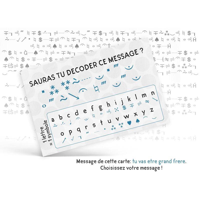 """Carte  personnalisable """"Sauras tu décoder ce message ?"""" La chouette mauve Livraison rapide Fabrication en France"""