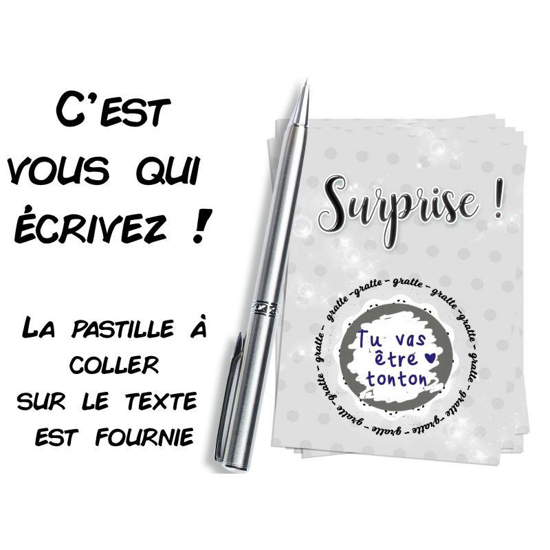 Mini carte à gratter inscriptible Surprise !|La chouette mauve|Livraison rapide|Fabrication en France
