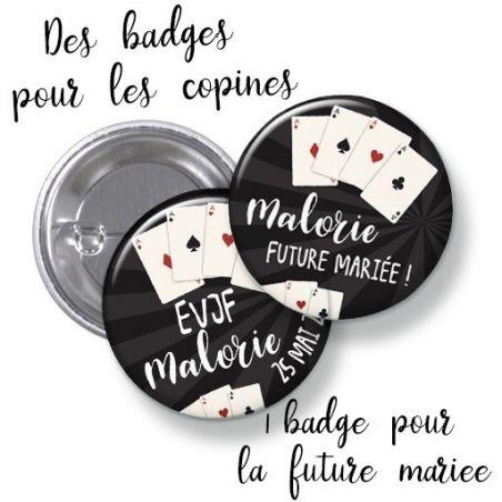 Badges EVJF rond grand format en métal - modèle Casino La chouette mauve Livraison rapide Fabrication en France