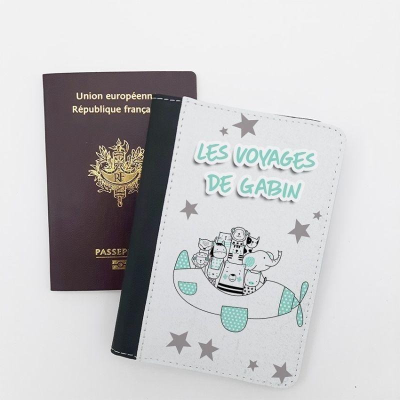 Protège passeport personnalisable Animaux avion La chouette mauve Livraison rapide Fabrication en France