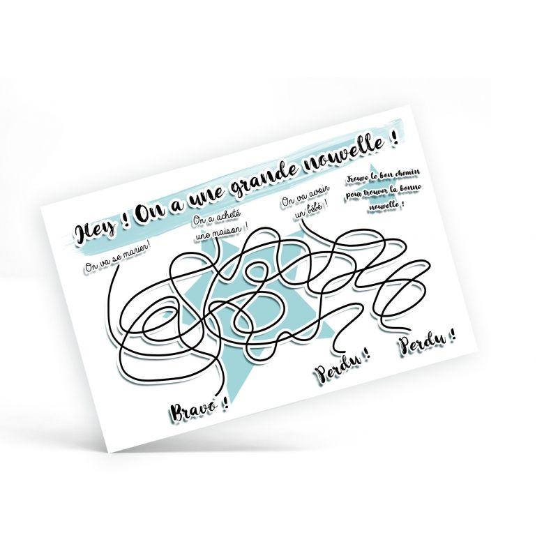 Carte jeu labyrinthe pour faire découvrir une bonne nouvelle La chouette mauve Livraison rapide Fabrication en France
