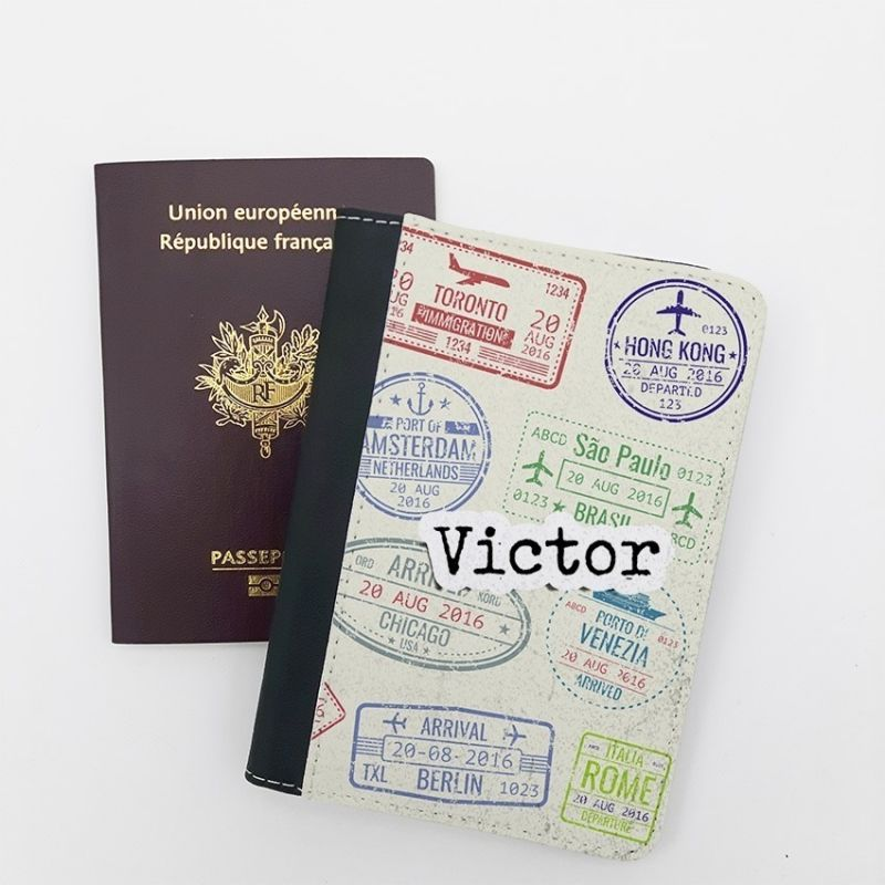 Protège passeport personnalisable Visa La chouette mauve Livraison rapide Fabrication en France