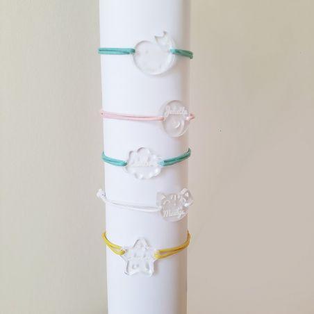 Bracelet gravé enfant personnalisable Nuage|La chouette mauve|Livraison rapide|Fabrication en France