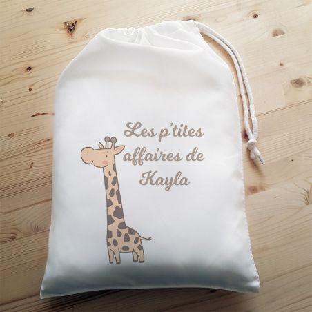 Pochon personnalisable Girafe La chouette mauve Livraison rapide Fabrication en France