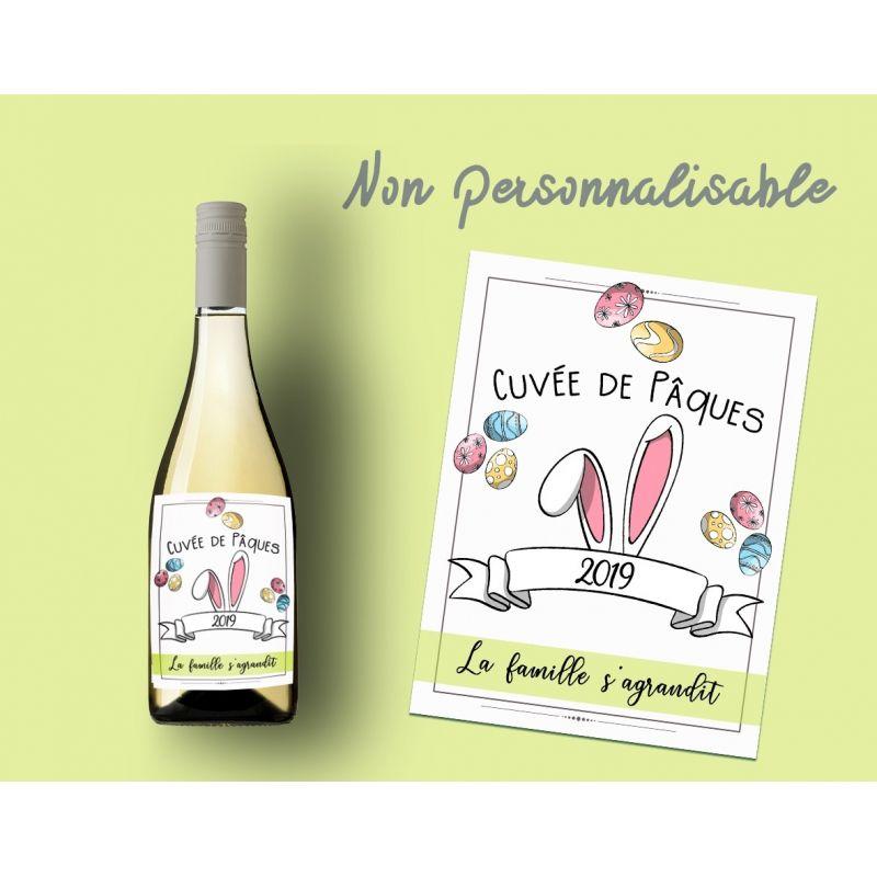 """Etiquette bouteille vin """"La famille s'agrandit """" Spécial Pâques La chouette mauve Livraison rapide Fabrication en France"""