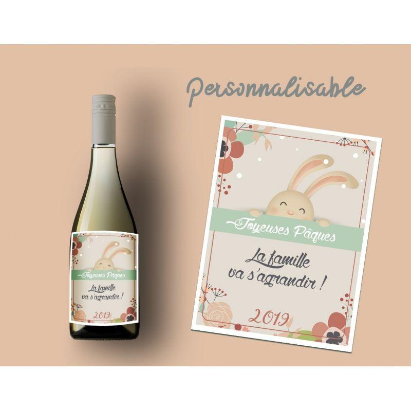 Etiquette personnalisable bouteille vin Spécial Pâques La chouette mauve Livraison rapide Fabrication en France