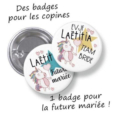 Badges EVJF rond grand format en métal - modèle Laëtitia, licorne|La chouette mauve|Livraison rapide|Fabrication en France