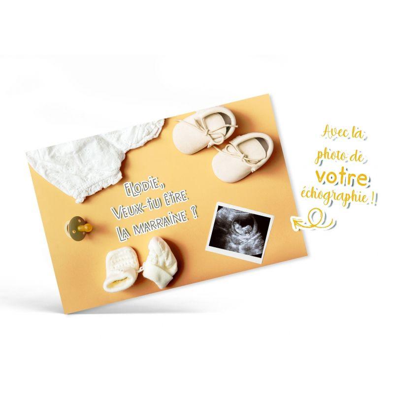 Carte annonce de grossesse avec VOTRE échographie - Polaroid au sol La chouette mauve Livraison rapide Fabrication en France